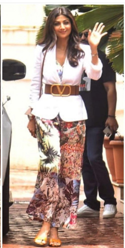 Yay or nay? Shilpa Shetty seen wearing a floral pants attire with a blazer and valentino belt on her birthday today - SeenIt