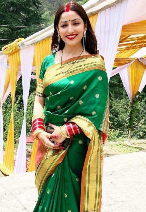 Looking for a similar green silk saree online like Yami Gautam is seen wearing after her wedding - SeenIt