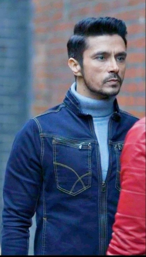Same denim jacket and same skyblue high neck Tee as well - SeenIt
