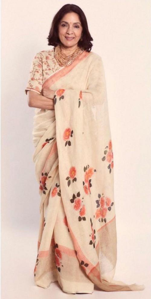Looking for a similar saree like Neena Gupta is seen wearing - SeenIt