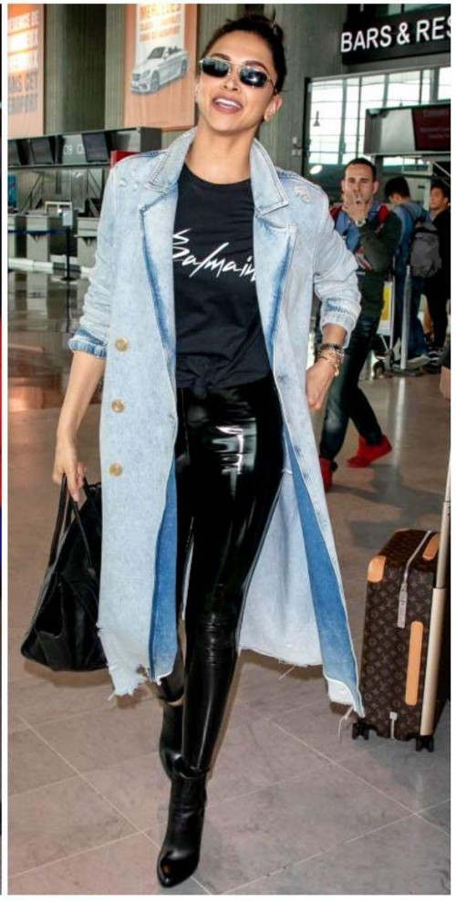 Yay or nay? Deepika Padukone seen wearing a pair of leather pants and denim over coat  - SeenIt