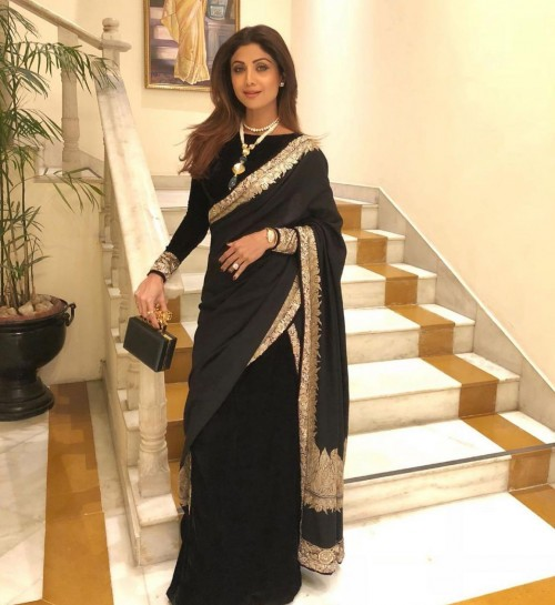 Yay or nay? Shilpa Shetty seen wearing a black saree with golden border - SeenIt