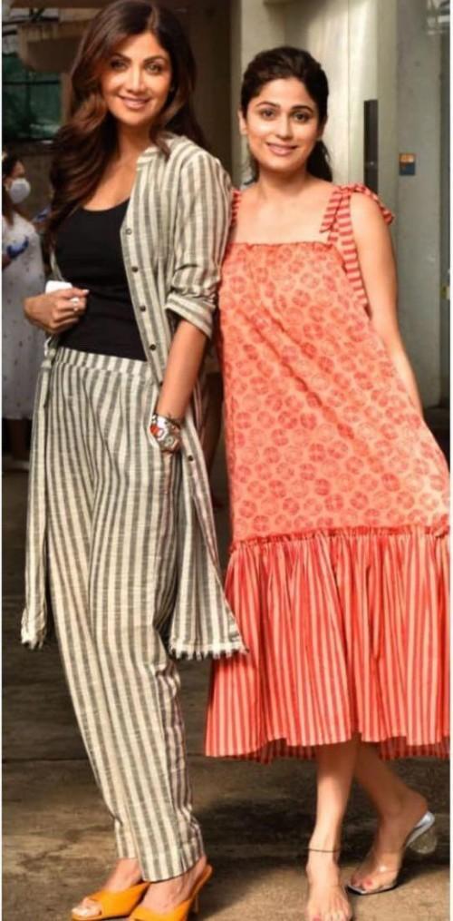 Looking for similar striped pants like Shilpa Shetty is seen wearing - SeenIt