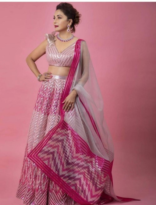 Yay or nay? Madhuri Dixit seen wearing a pink and silver lehenga outfit - SeenIt
