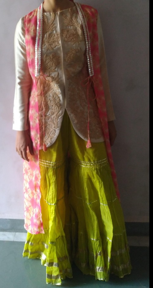 What is your opinion about this fusion outfit with lime green sharara pants, beige embroidered blouse and pink jacket? - SeenIt