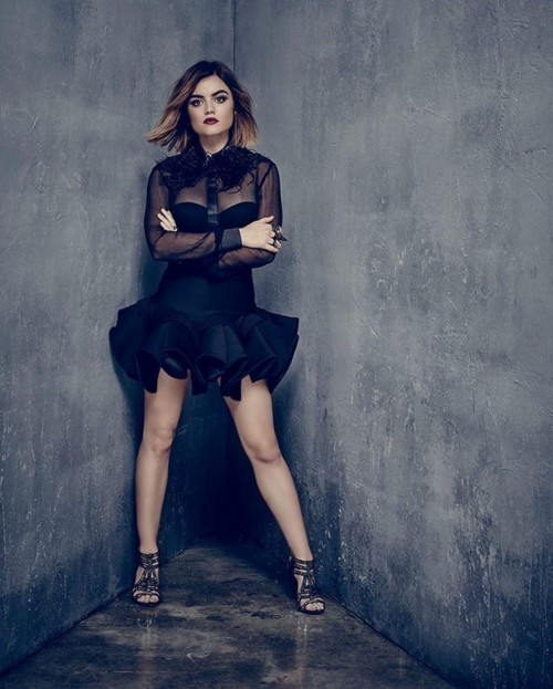 Yay or nay? Lucy Hale seen wearing a black outfit recently for a shoot - SeenIt