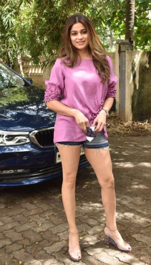 Yay or nay? Shamita Shetty seen wearing a pink long sweater with shorts outfit - SeenIt