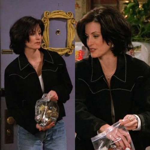 I'm looking for the black jacket with white contrast stitching that Monica is wearing in the pic - SeenIt