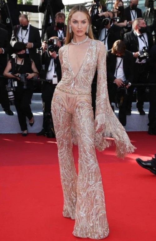 Yay or nay? Candice Swanepoel attends the 74th Cannes Film Festival opening night premiere of
