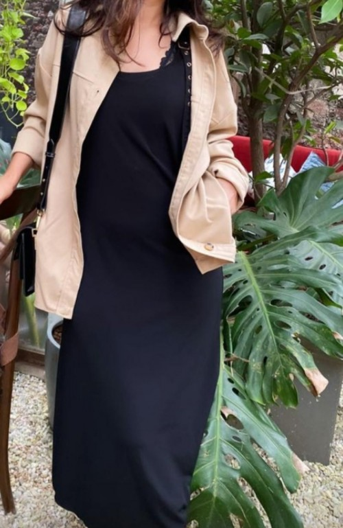 Looking for similar  beige jacket and  black dress - SeenIt