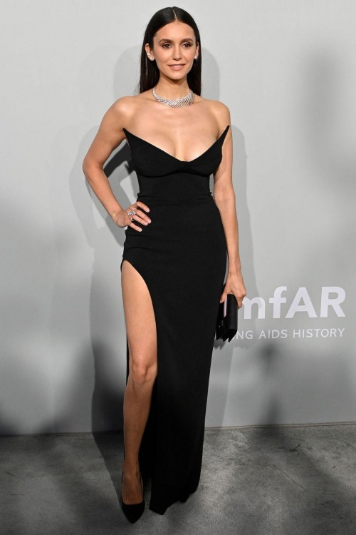 Yay or nay? Nina Dobrev attends the Cannes film festival 2021 wearing Strapless monot dress - SeenIt