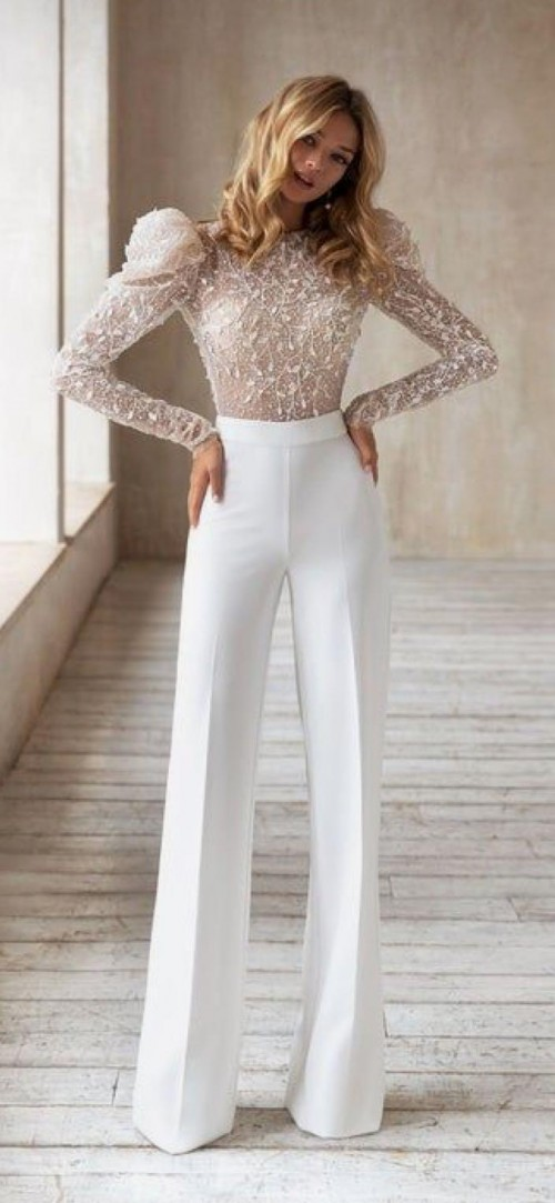 White top and white formal pants - SeenIt