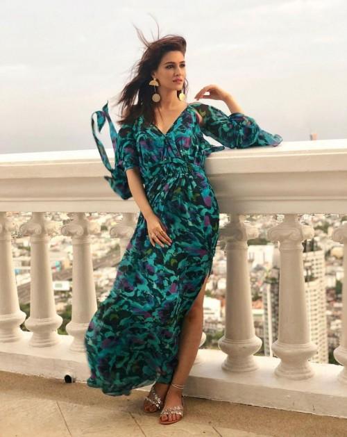 Yay or nay? Kriti Sanon seen wearing a green printed maxi dress - SeenIt