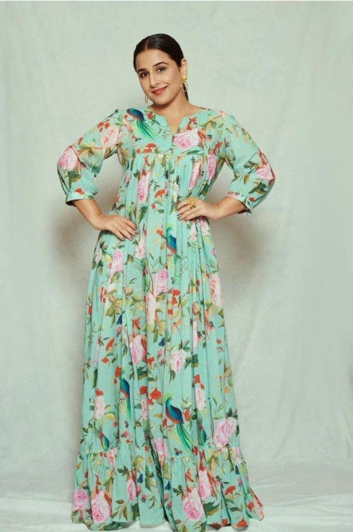 Yay or nay? Vidya Balan seen wearing a green floral printed maxi dress for the promotions of Sherni - SeenIt
