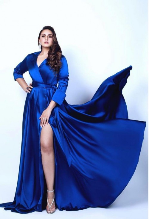 Yay or nay? Huma Qureshi seen wearing a royal blue satin slit gown - SeenIt