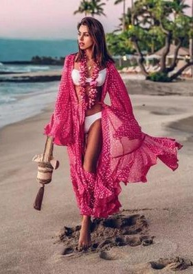 help me find a similar pink ruffled maxi coverup - SeenIt