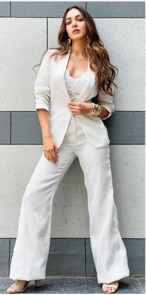 Yay or nay? Kiara Advani seen wearing a white pant suit by Amit Aggarwal - SeenIt