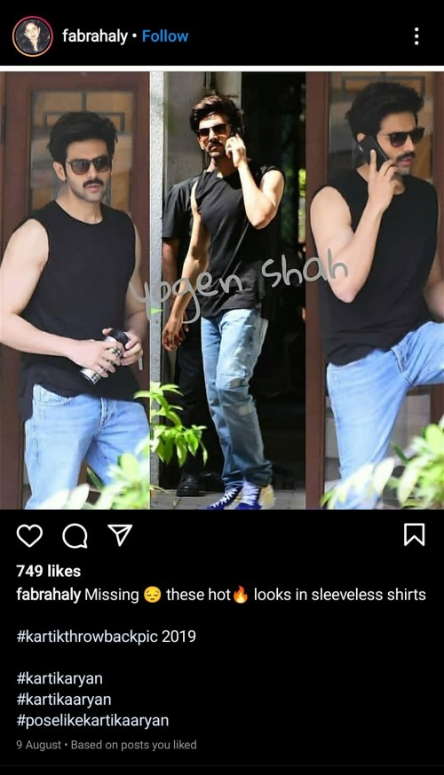 can anyone please help me to find EXACTLY!!!!! this branded sleeveless shirt which #kartikaaryan sir is wearing. - SeenIt