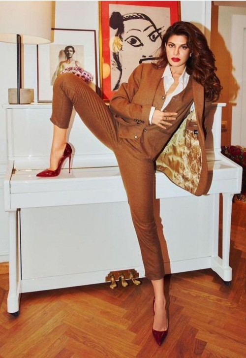 Yay or nay? Jacquline Fernandez seen wearing a brown pant suit recently for a shoot - SeenIt