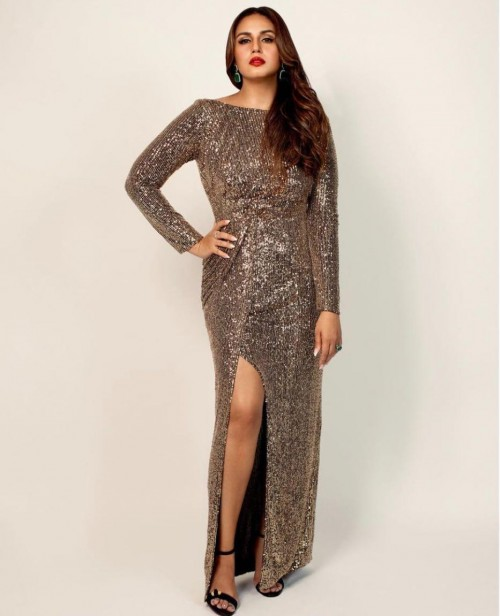 Yay or nay? Huma Qureshi seen wearing a shimmer grey slit gown - SeenIt