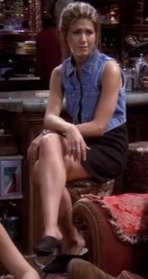 Looking for similar jean jacket vest, black dress and shoes - SeenIt
