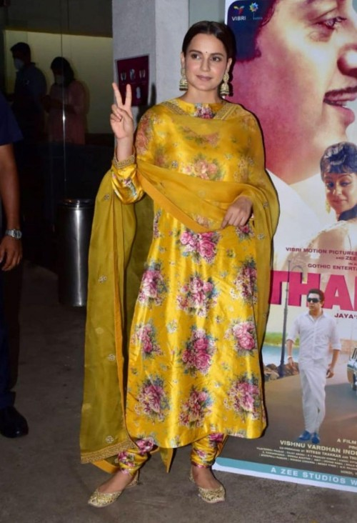 Yay or nay? Kangana Ranaut seen wearing a silk flora print suit for Thalavi promotions - SeenIt