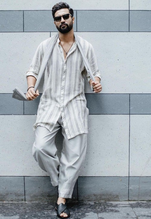 Yay or nay? Vicky Kaushal seen wearing a grey striped kurta with pants - SeenIt