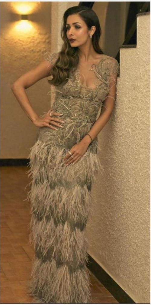 Yay or nay? Malaika Arora seen wearing a  fringe Marchessa gown recently - SeenIt