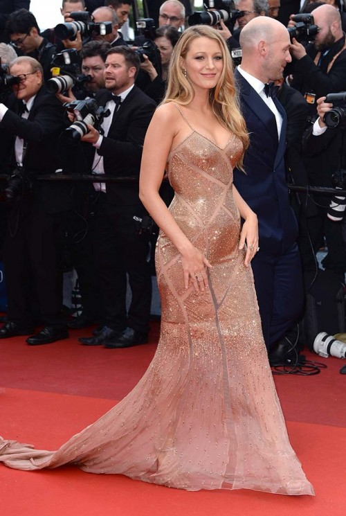want a similar golden strappy full sequin embellished gown blake lively wore at an event - SeenIt