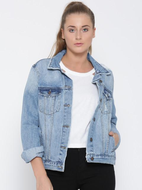 5c5f2dde5186 Forever 21 Women Blue Printed Back Washed Denim Jacket - SeenIt