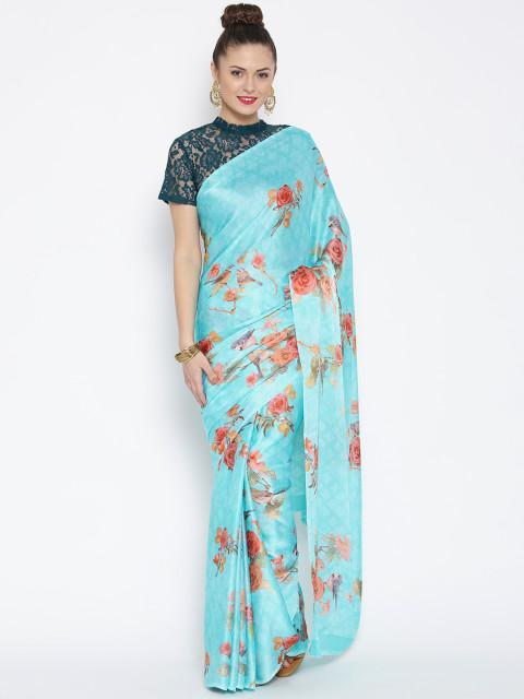 987ca7becc1 Jashn Turquoise Blue Crepe Satin Printed Saree - SeenIt