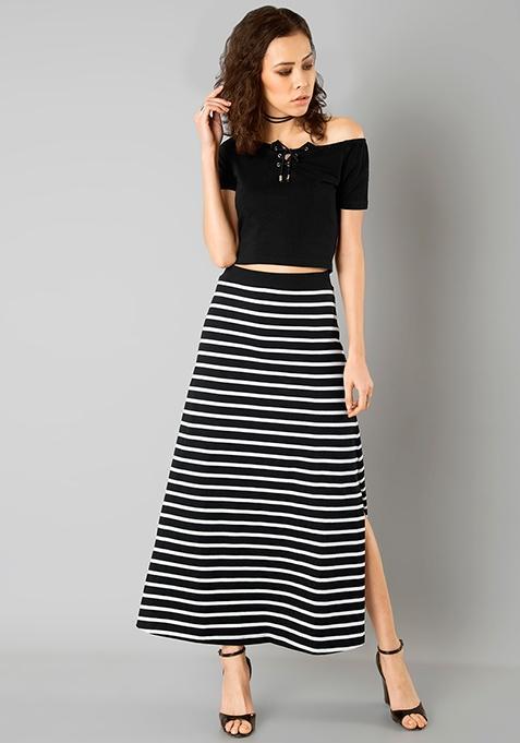 fdcc7c3c26 Flared Jersey Maxi Skirt - Black Stripes - SeenIt