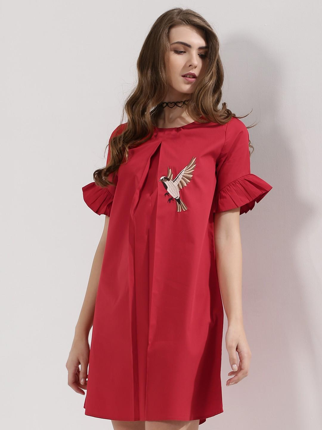3734ebb3d3 Red Embroidered Dress - SeenIt
