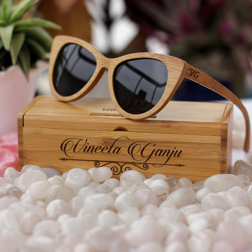 59f27ebb19 The Librarian - Brown Bamboo Cateye Wooden Sunglasses - SeenIt