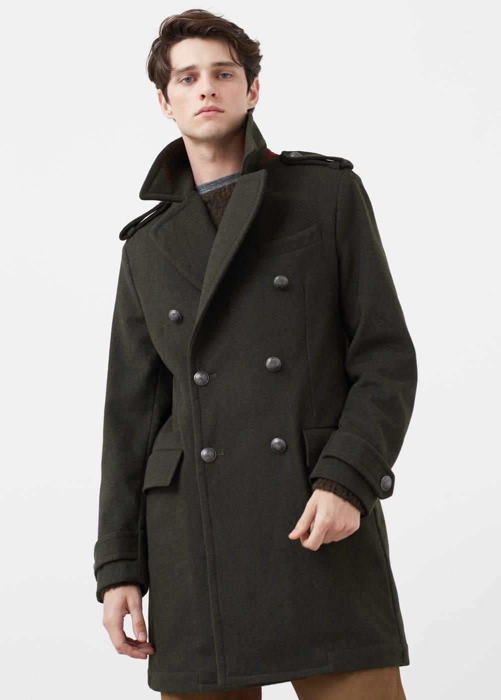 df4e2565c38 Amazon. Haggar Mens Bedford Peacoat. Buy. Military Style Wool Coat - SeenIt