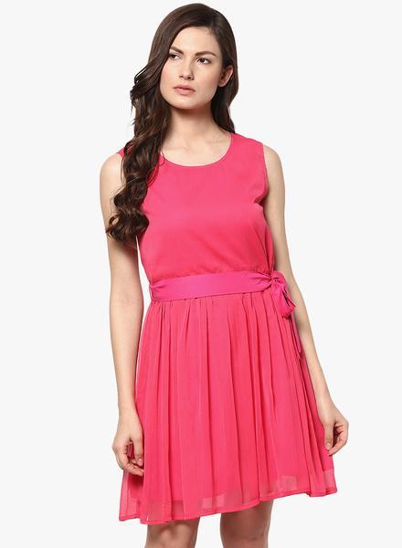 bfbcfa67cb55 Abiti Bella Pink Coloured Solid Skater Dress - SeenIt. Jabong