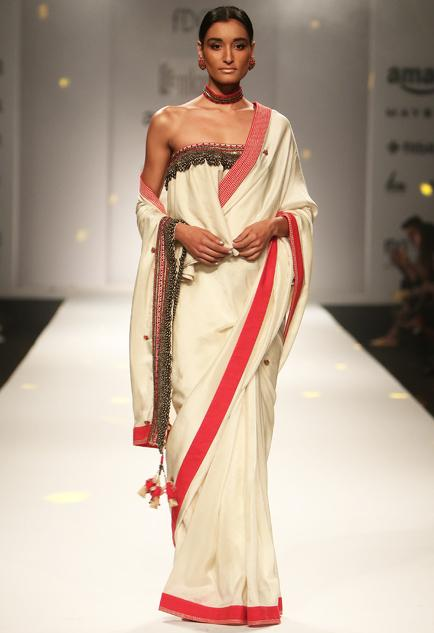 fcca9bfd78a Ivory Embellished Sari With Ruffled Blouse - SeenIt