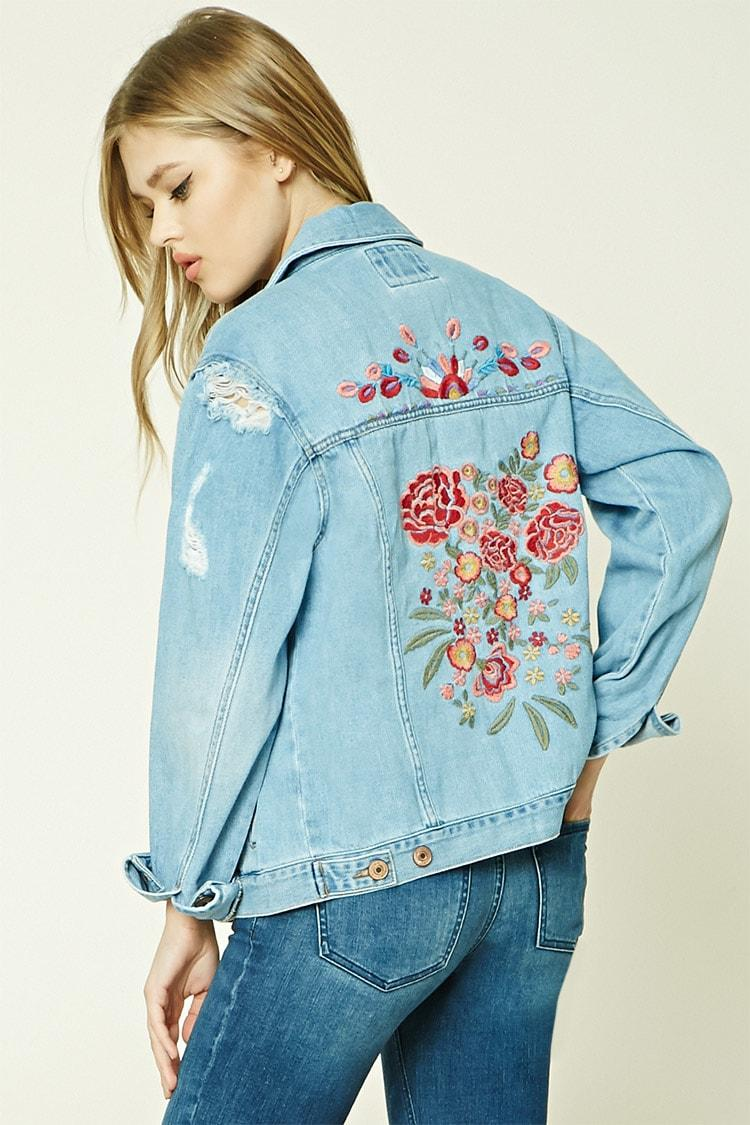 1f5deeecb425 Floral Embroidered Denim Jacket - SeenIt