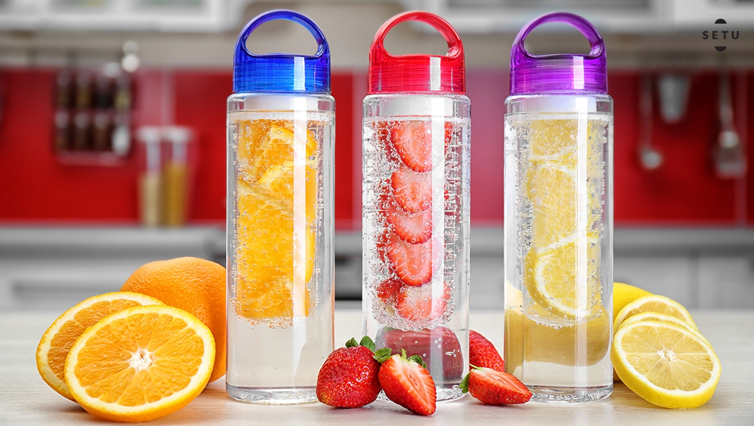 Fruit infuser bottles for fitness on-the-go