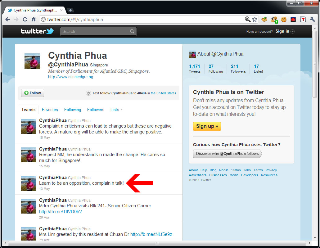 "Cynthia Phua tweets: ""Learn to be an opposition, complain n talk ..."
