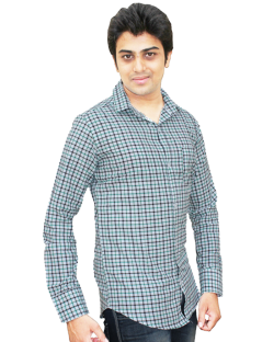 Yepvi White And Green Checked Shirt
