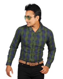 Yepvi Green And Blue Checked Shirt