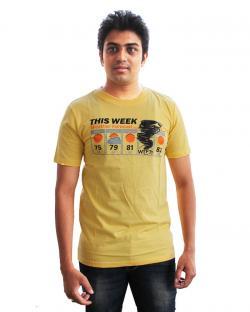 Canopus Mens Dark Yellow Printed T-Shirt