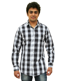 Yepvi White And Black Checked Shirt