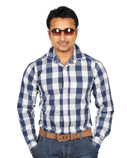 Yepvi White And Nevy Blue Checked Shirt