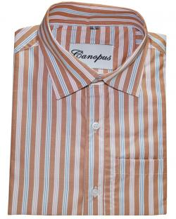 Canopus Brown & White Striped Shirt