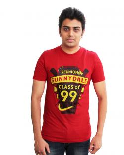 Yepvi Mens Dark Red Printed T-Shirt