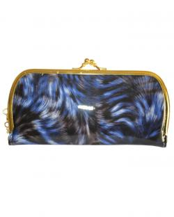 Blue With Black Color Clutch For Women