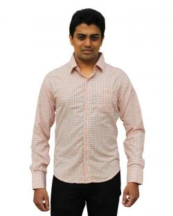 Canopus Men Orange Checked Formal Shirt