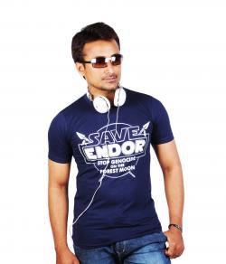 Yepvi Men Navy Blue(Save Endore) Printed T-Shirt